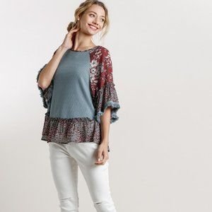 Umgee Blue Floral Animal Print Waffle Knit Top